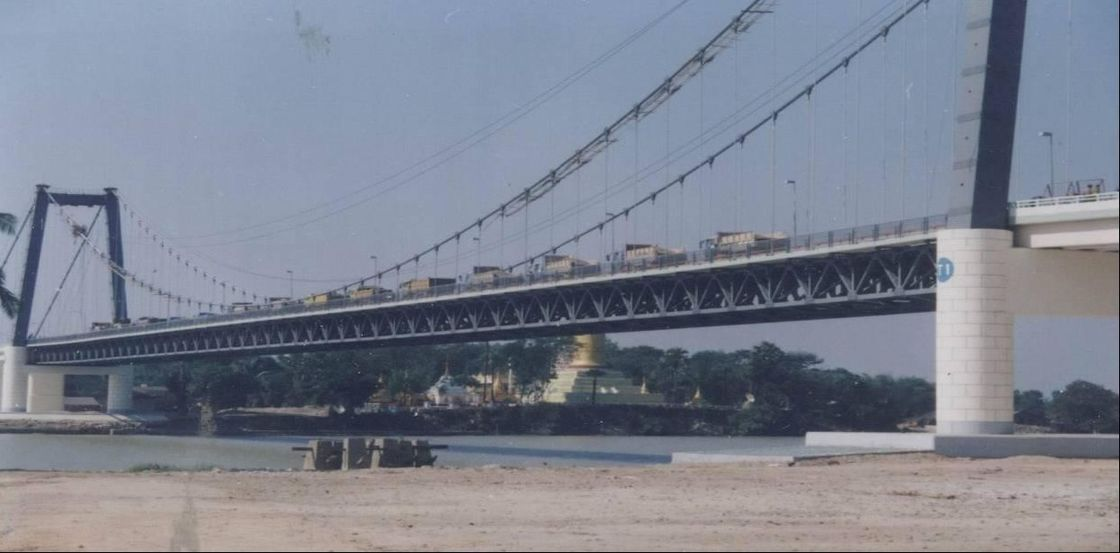 Permanent Deck Steel Cable Suspension Bridge With Steel Truss