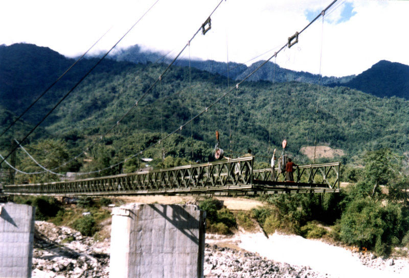 Large Span Steel Suspension Cable Stay Bridges With Rock Anchors